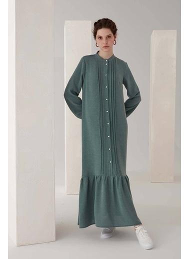 Vivencia Nervür Detaylı Kadın Elbise Gül Kurusu Yeşil